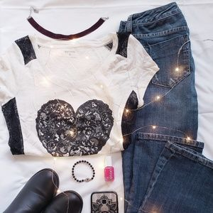 Lace insert heart t-shirt